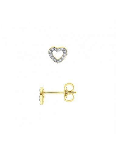 Boucles d'Oreilles HEART Diamants Or