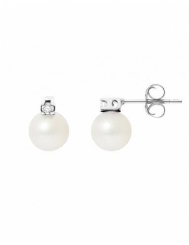 Boucles d'Oreilles Diamants & Véritables Perles